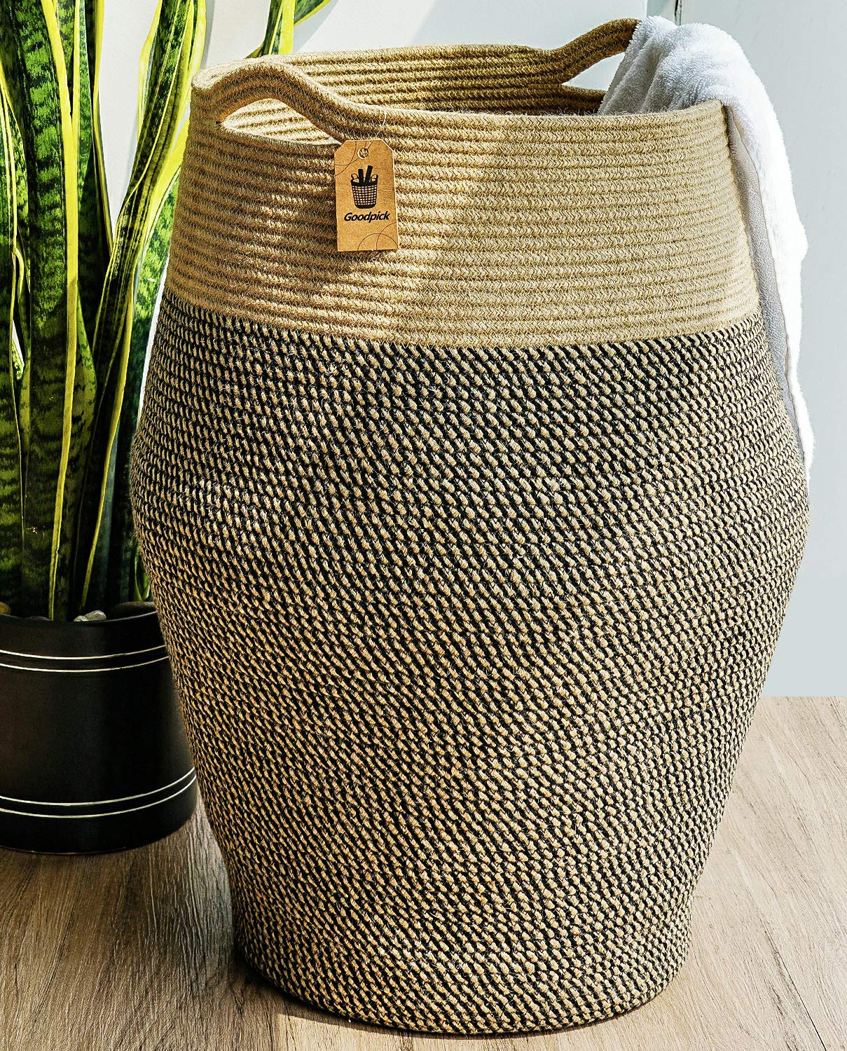 Goodpick Tall Laundry Hamper Woven Jute Rope Dirty Clothes Hamper Modern Hamper Basket Large in Laundry Room, 25.6 Height