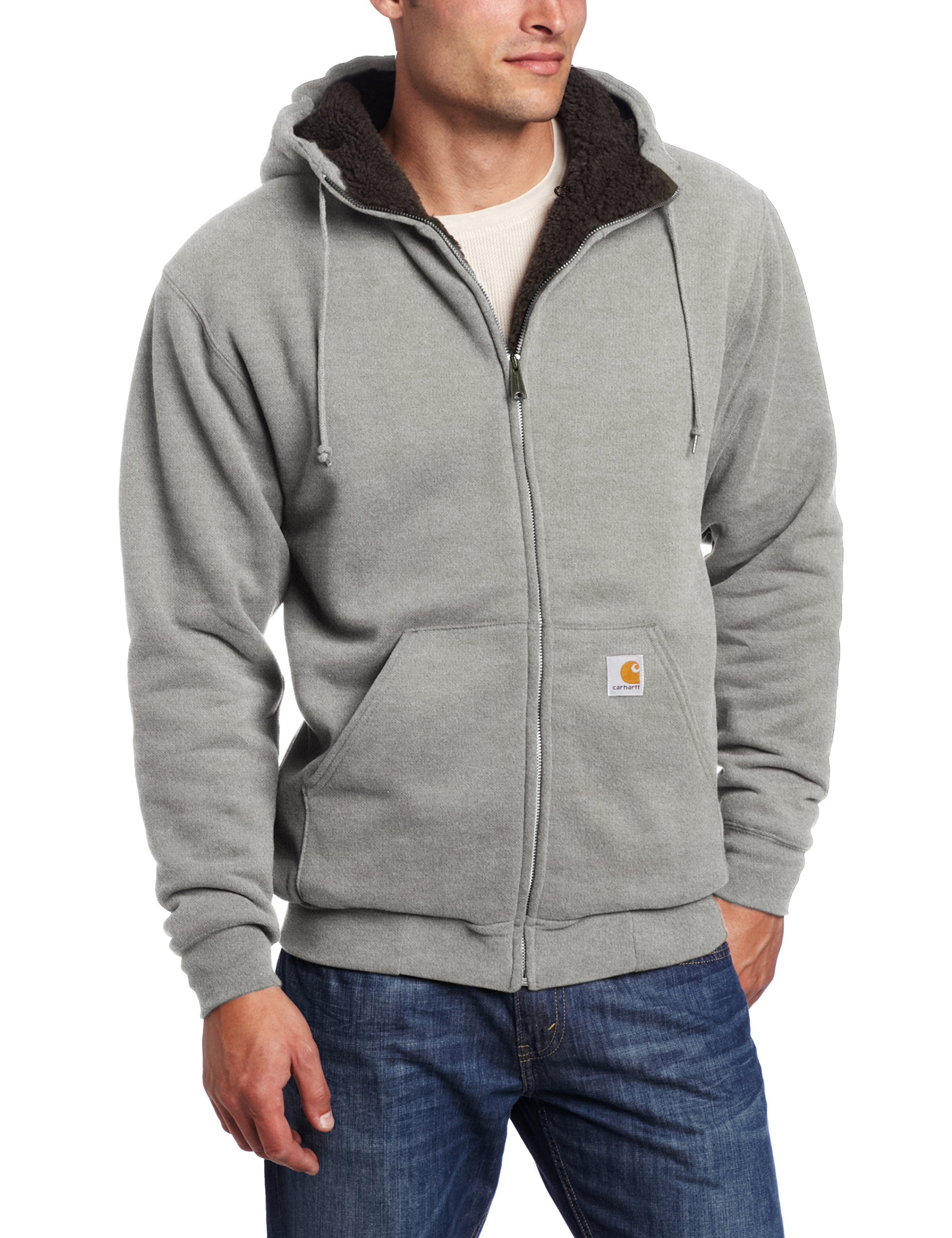 Carhartt Men's Collinston Brushed Fleece Sherpa Lined Sweatshirt,Slate Heather,Medium