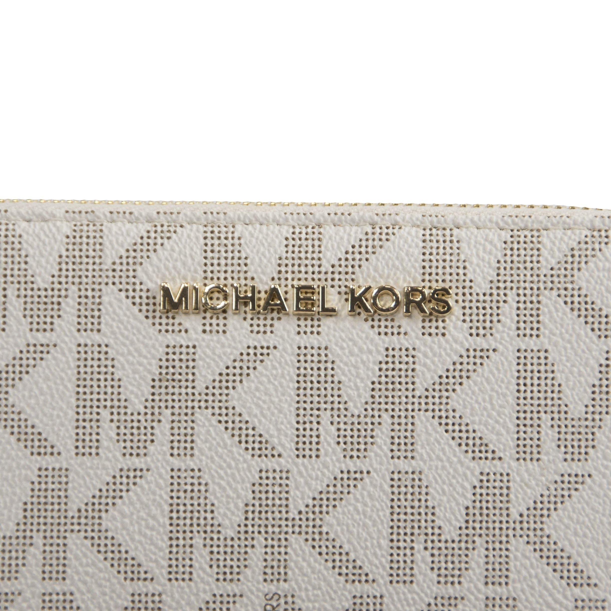 Michael Kors Vanilla Monogram Acorn Leather Large Zip Around Travel Wallet by Michael Kors (Image #4)