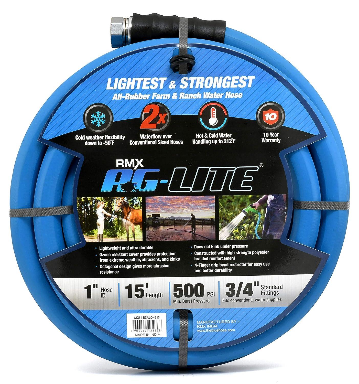 "AG-LITE Rubber Hot & Cold Water Rubber Garden Hose: Ultra-Light & Super Strong - 2X The Water Flow Than 5/8"" Hose (1"" x 15') - BSALONE15"