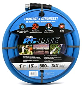 "AG-LITE Rubber Hot & Cold Water Rubber Garden Hose: Ultra-Light & Super Strong - 2X The Water Flow Than 5/8"" Hose (1"" x 15') - BSALONE15"