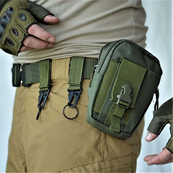 4x Molle Military Bag Accessory Buckle Hook Tactical Backpack Keychain Green