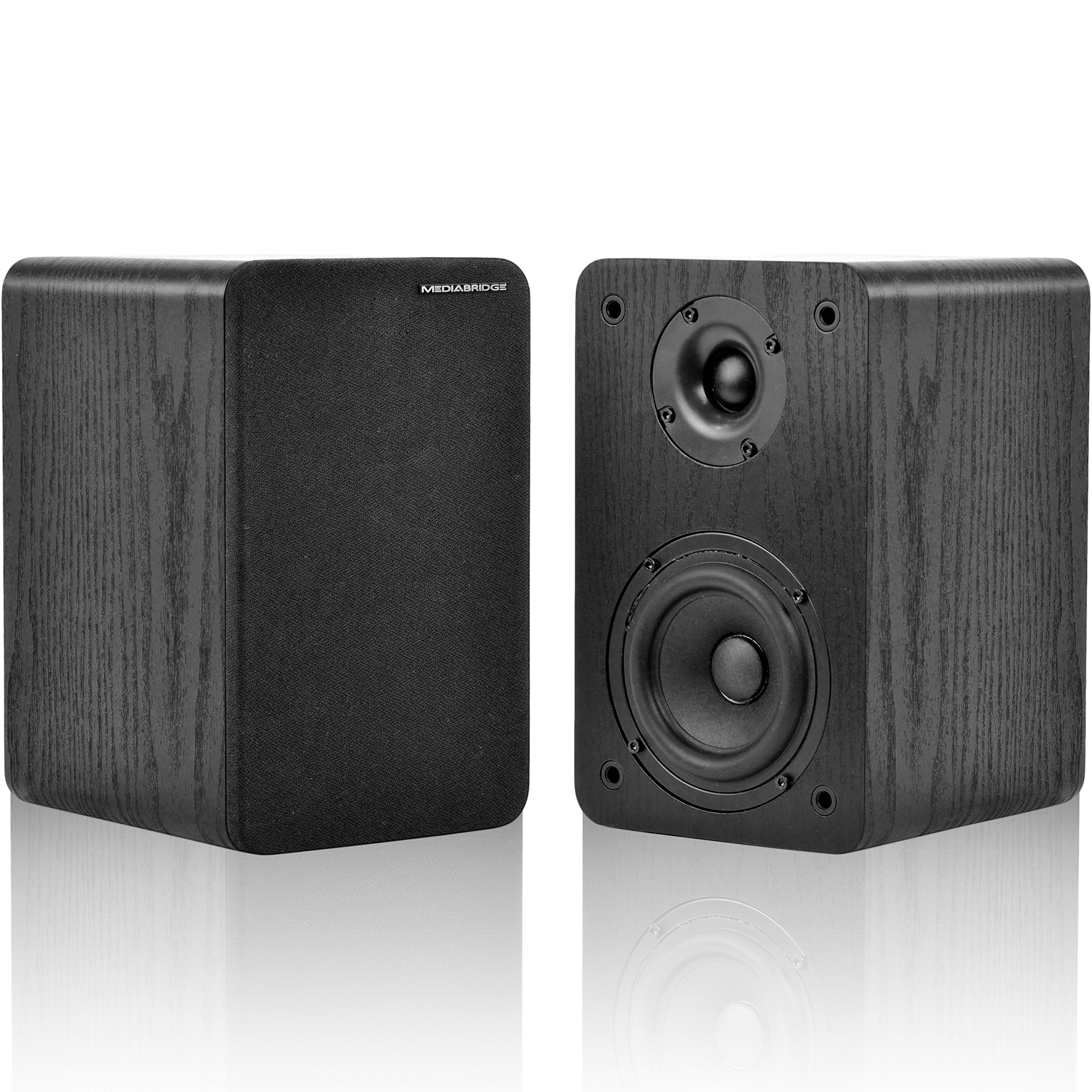 Mediabridge Bookshelf Speakers Pair With 4-Inch Carbon Fiber Woofer & 1-Inch Silk Dome Tweeter - Black Enclosure (Part# MS-BP1B)