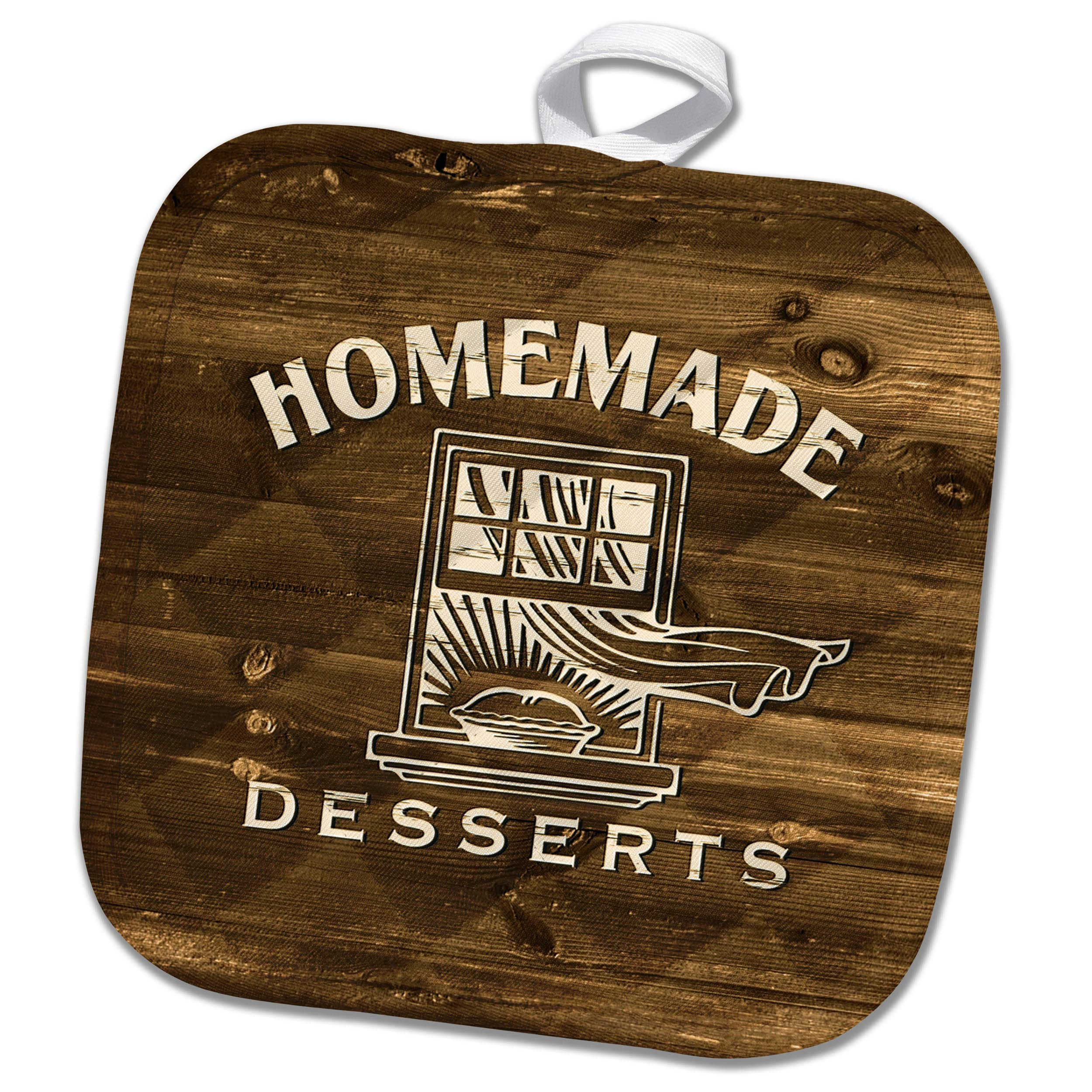 3dRose Russ Billington Designs - Homemade Desserts- Cream Text on Brown Wood Effect- not Actual Wood - 8x8 Potholder (PHL_293747_1) by 3dRose (Image #1)