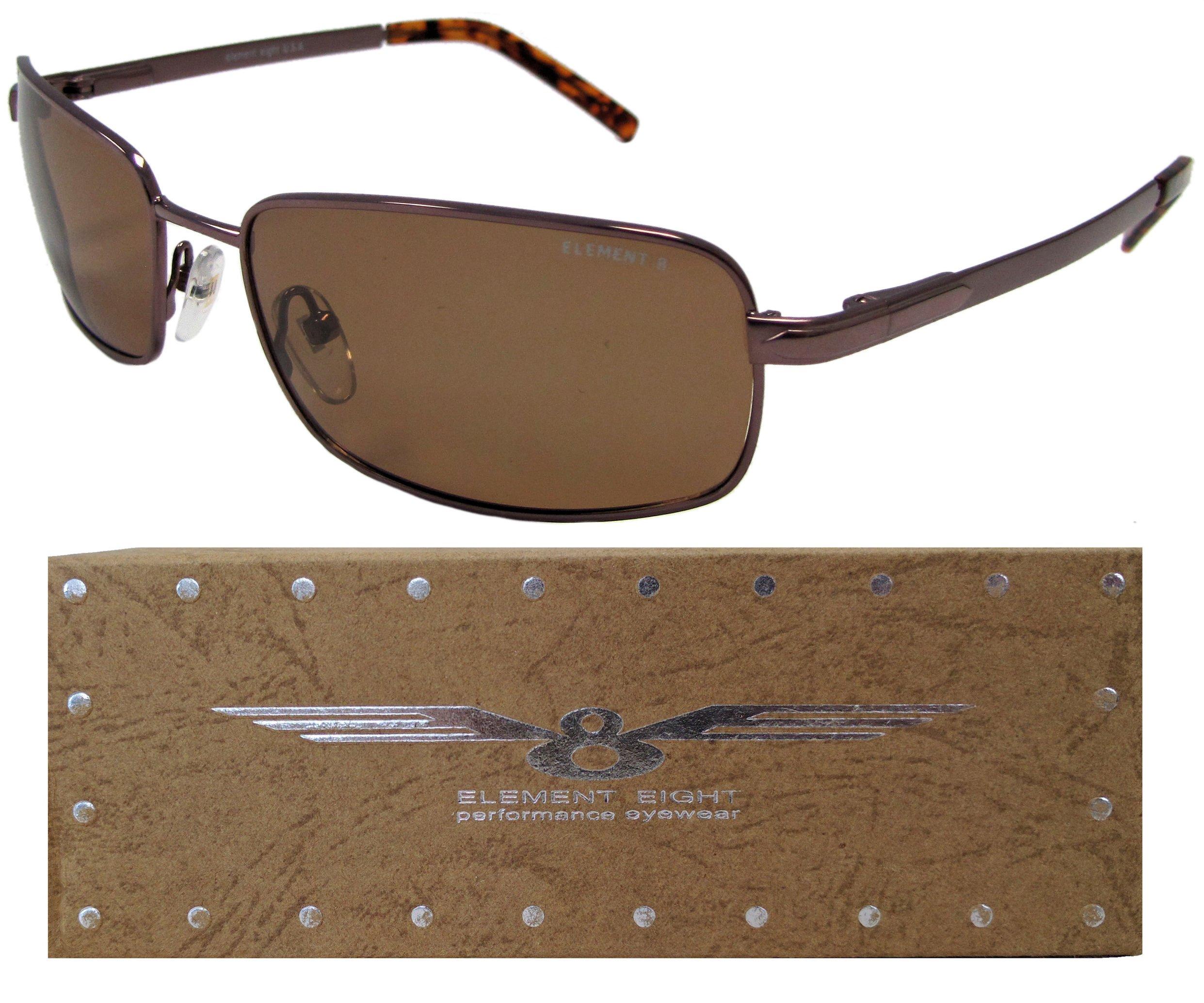 E8 Element Eight Metal Wire Frame Polarized Sunglasses - Amber Frame - Amber Lens