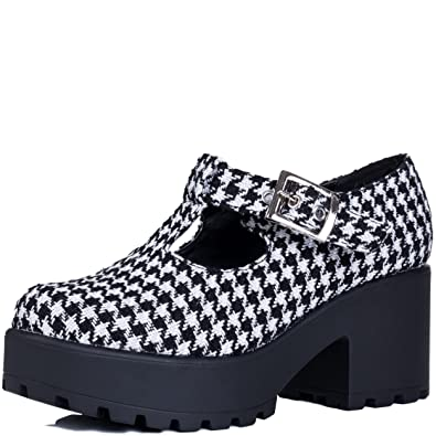 b545c434bc2 Adjustable Buckle Block Heel Ankle Boots Shoes Black Houndstooth Sz 4