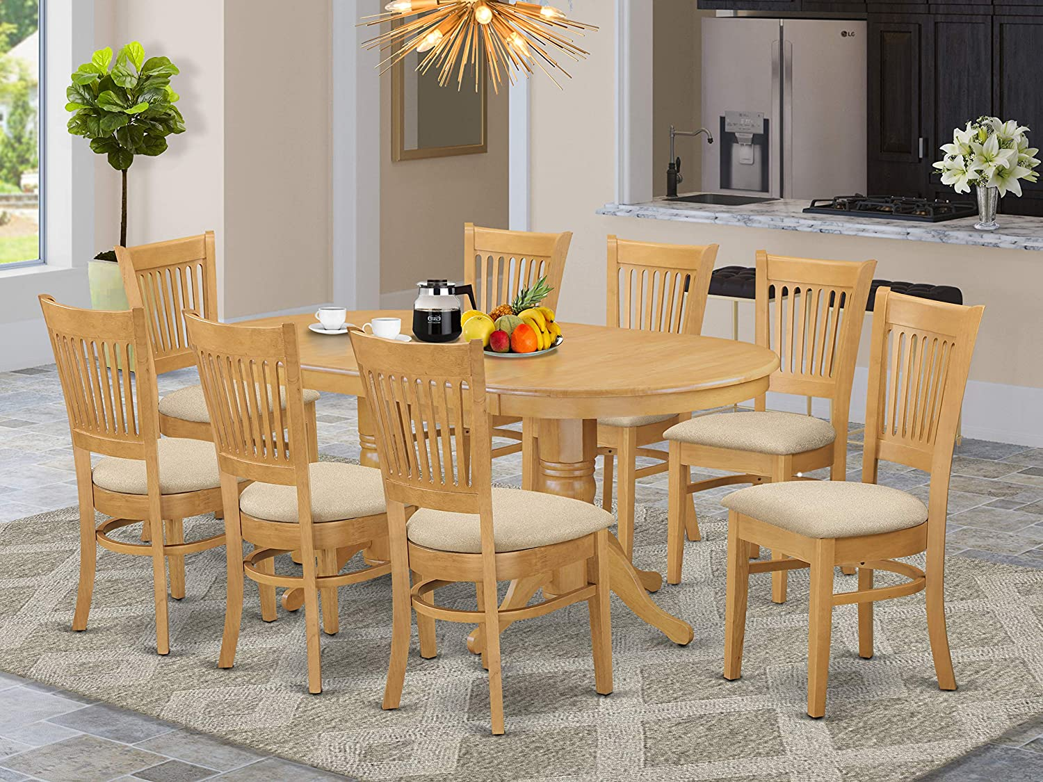 Amazon Com 9 Pc Dining Room Set For 8 Dining Table With Leaf And 8 Kitchen Dining Chairs Furniture Decor