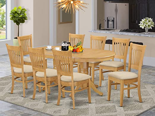 Amazon Com 9 Pc Dining Room Set For 8 Dining Table With Leaf And 8 Kitchen Dining Chairs Table Chair Sets