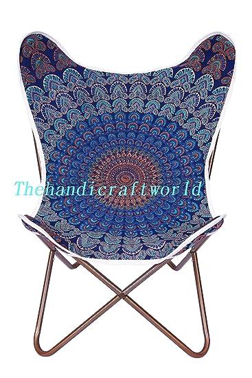 Blue Peacock Mandala Chair Cover Classic Blue Chair Cover, Butterfly Print  Chair