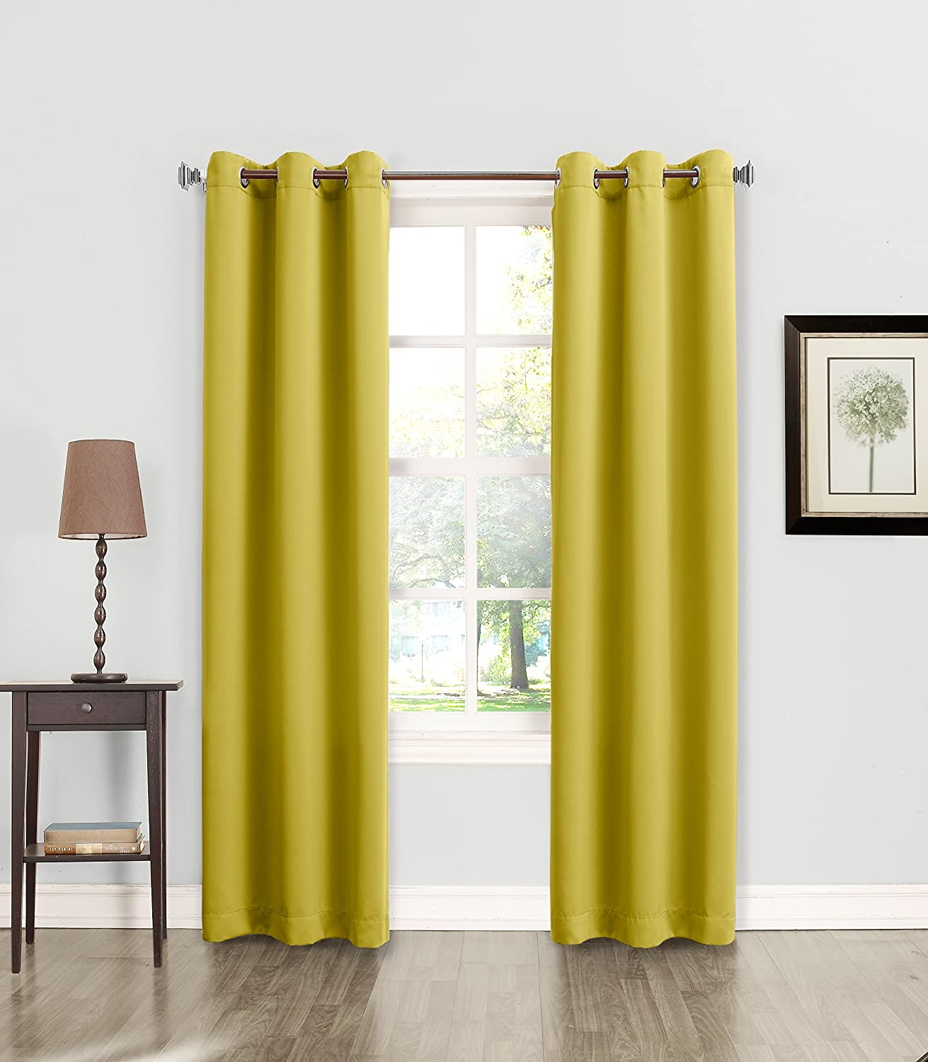 Sun Zero Becca Energy Efficient Grommet Curtain Panel Citrine Yellow