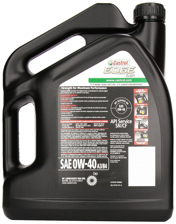 Amazon.com: Castrol 03101 EDGE 0W-40 A3/B4 Advanced Full Synthetic Motor Oil, 5 Quart, 3 Pack: Automotive