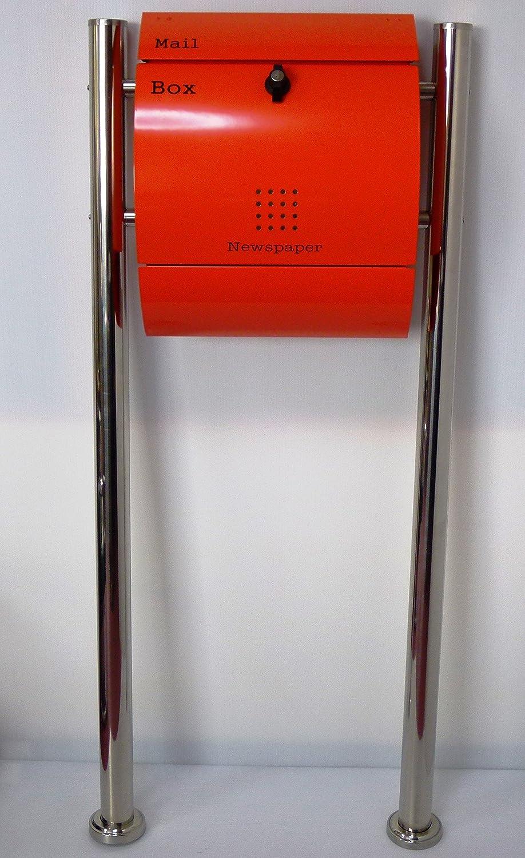 郵便ポスト郵便受け北欧風大型メールボックススタンド型プレミアムステンレスオレンジ色ポストpm035s B018NNRUOY 21880