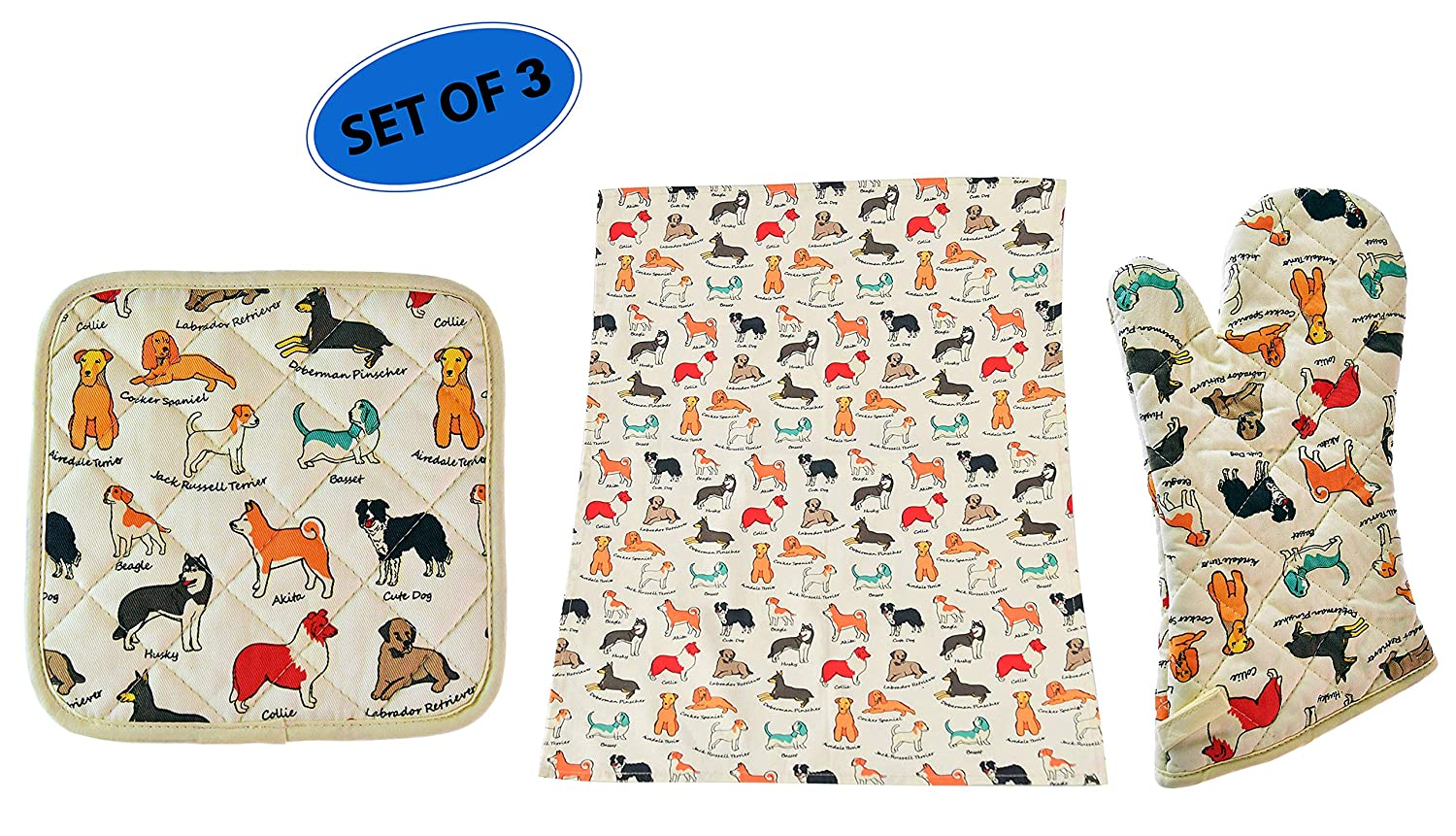 Home-X Oven Mitt, Potholder, and Tea Towel Kitchen Set for Dog Lovers