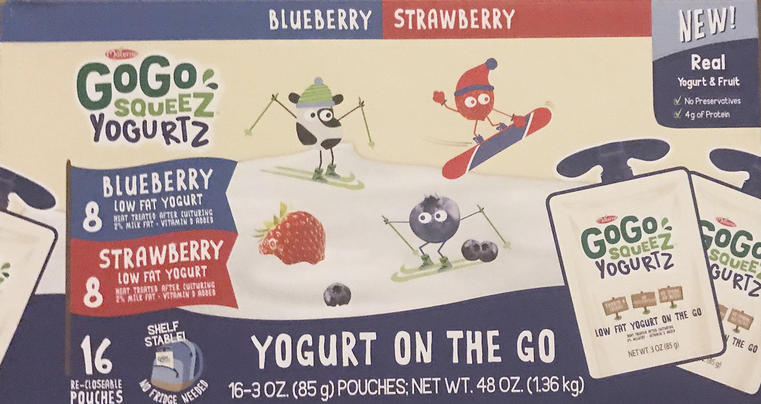 GoGo Squeez Yogurtz On The Go, Strawberry, Blueberry, 3oz, 16ct