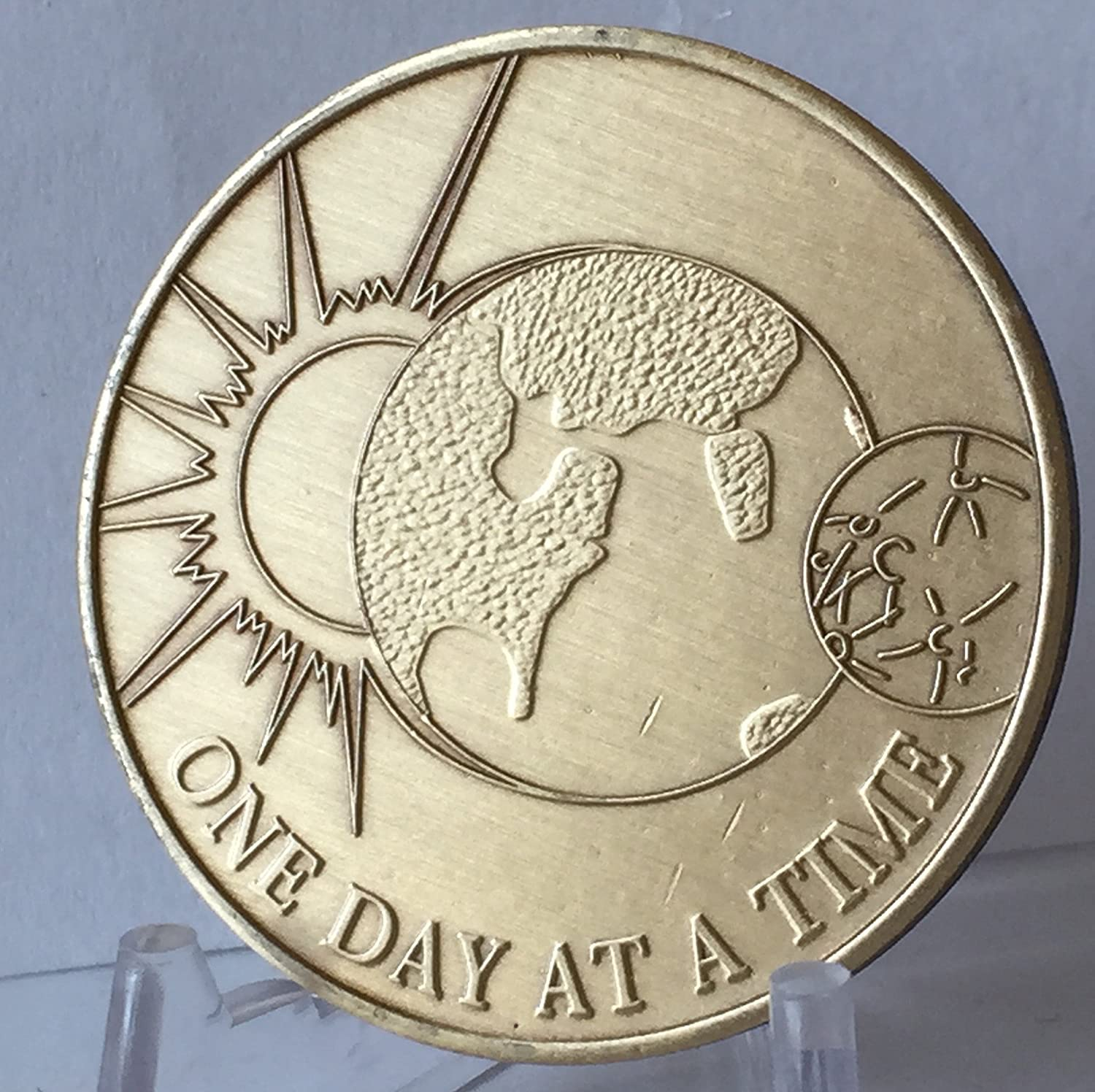 One Day At a Time Universe with the Serenity Prayer Bronze Medallion Wendells