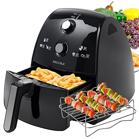 Secura 4 Liter, 4.2 Qt, Extra Large Capacity 1500 Watt Electric Hot Air Fryer and additional accessories Recipes,Toaster rack and Skewers