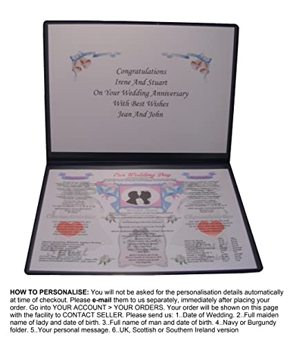 PERSONALISED WEDDING DAY ANNIVERSARY GIFT 40TH RUBY Married 1978