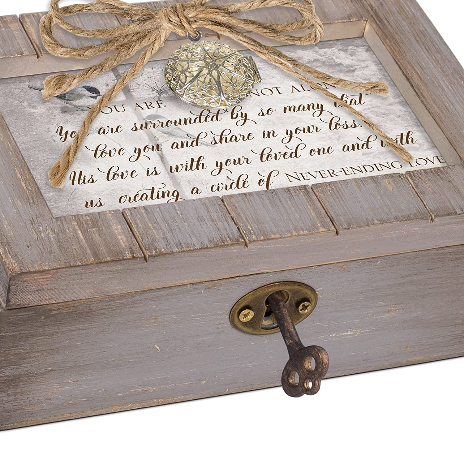 Cottage Garden You are Not Alone Circle of Love Grey Distressed Locket Petite Music Box Plays How Great Thou Art