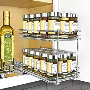 """Lynk Professional 430622DS Slide Out Spice Rack Double Cabinet Organizer, 6"""" Wide, Chrome"""