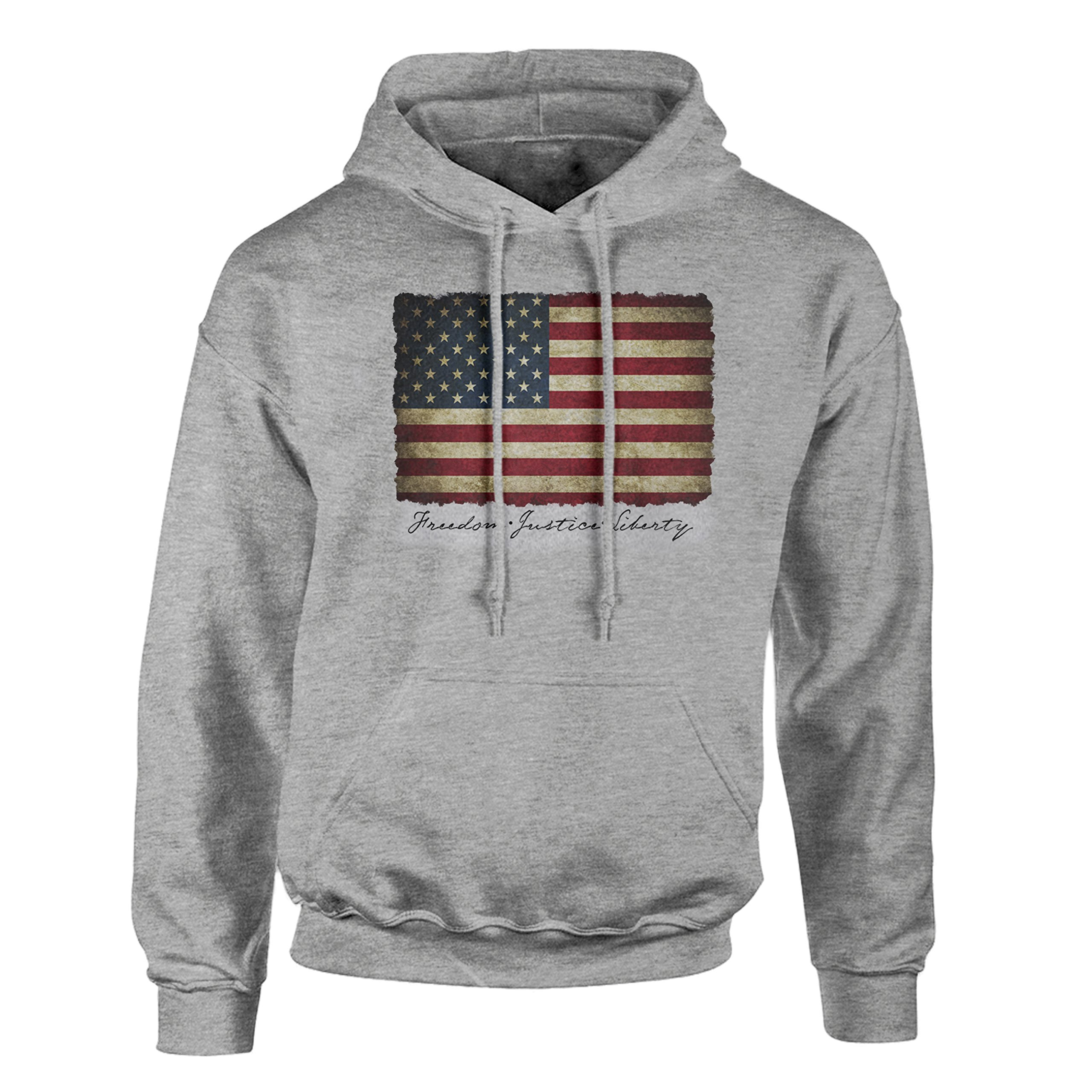 Limited Edition Vintage American Flag Hoodie Pullover Fleece for Men 2XL - Sweatshirt, Gift, Cotton Poly Blend, Ultra Soft