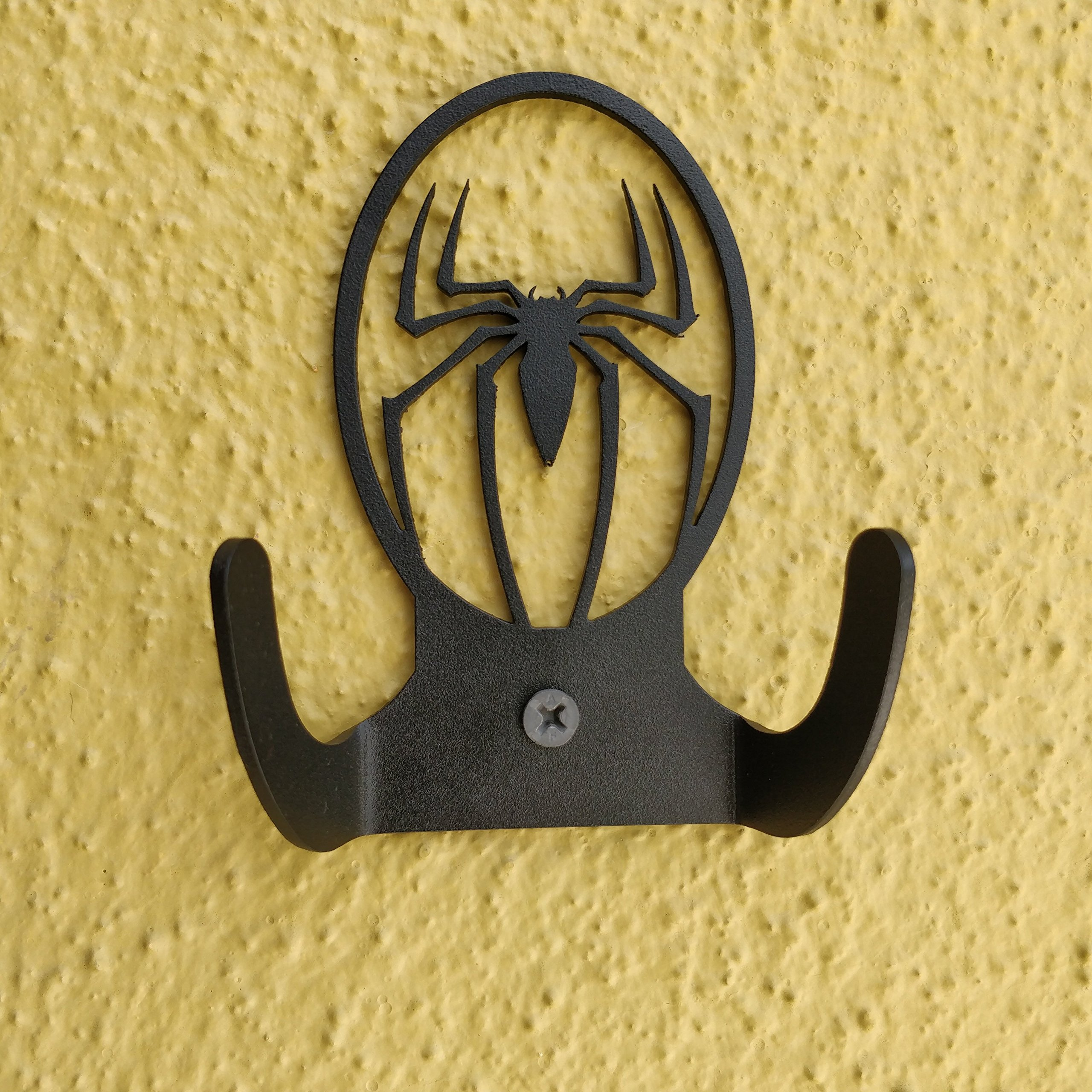 HeavenlyKraft Spiderman Logo Steel Wall Hook Dual Holder For Living Room Coat Hat Robe Hanger Bathroom Towel Kitchen Strong Heavy Duty Garage Storage Organizer Utensil Hook Single, 4 X 3.14 X 1.4 Inch