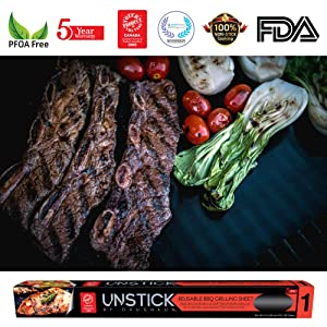 UNSTICK Reusable Non-Stick BBQ Grill Mat | Premium Japanese 100% PFOA-Free Barbecue Grilling Sheet | 5 Year Warranty