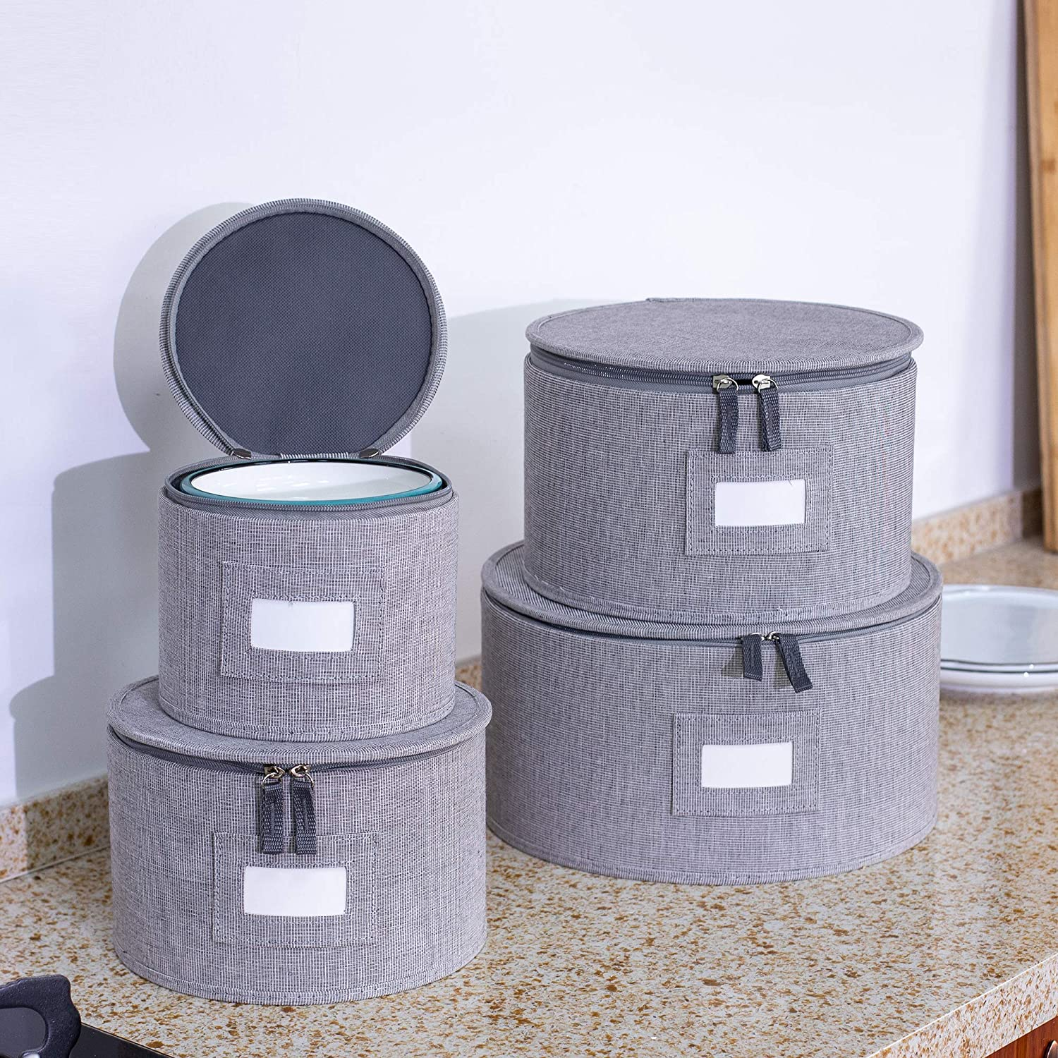 iN.Di/&iN.WE Hard-Shelled Storage Box protects for Dinnerware-Dishes-Saucers-and Salad Plates,With Large convenient Lable Window,Moving boxes for dishes Large Dishes Storage Box