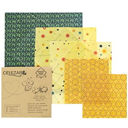 5 Pack) Beeswax Wrap - Reusable Food Wrap Handmade, Natural Eco