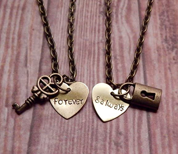 a07a353ad8 Image Unavailable. Image not available for. Color: Couples Necklace Set  with Lock and Key ...