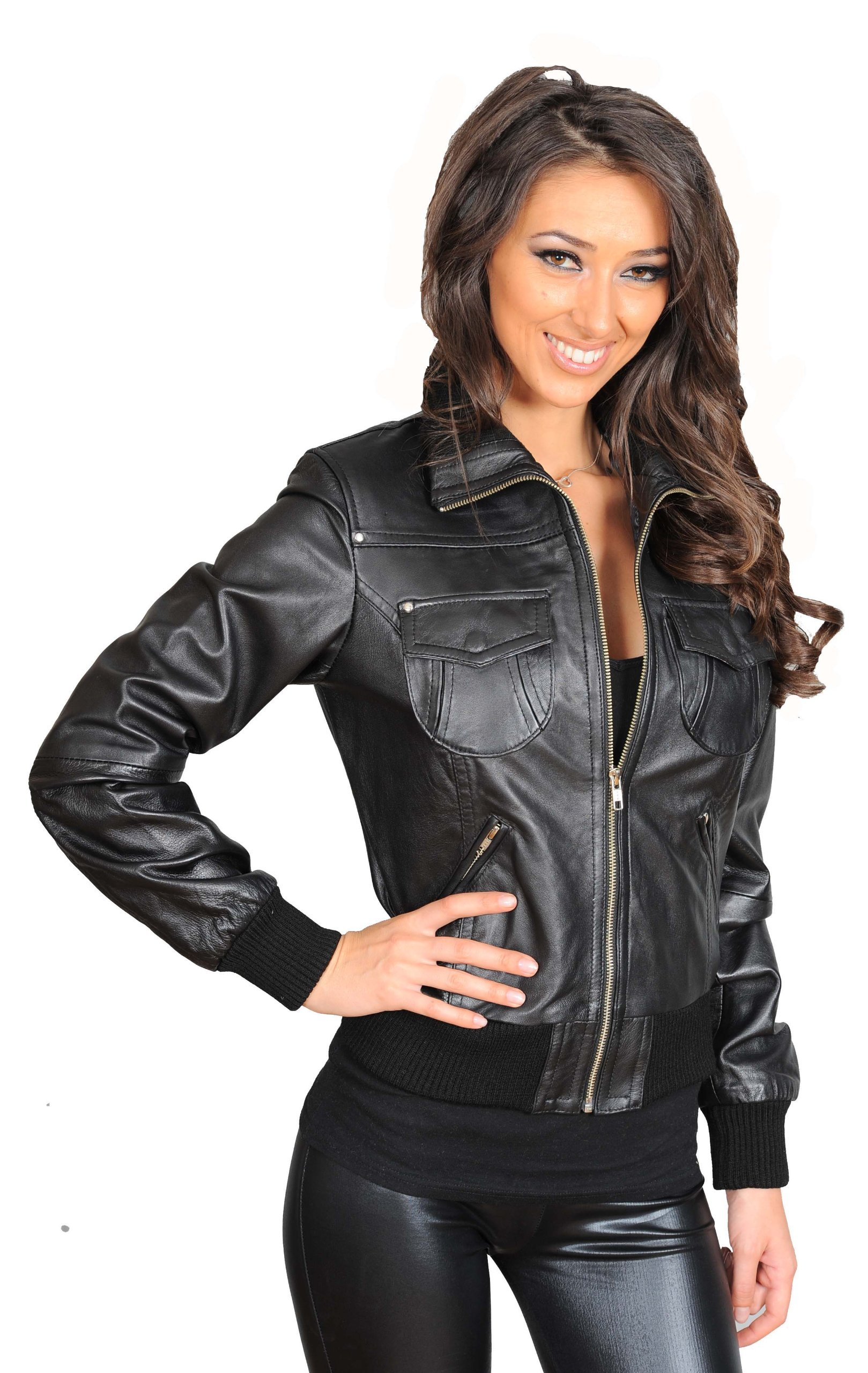 Womens Latest Short Fitted Bomber Real Leather Zip Up Jacket Cameron Black (X-Large)