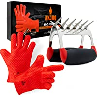 AMZ BBQ CLUB, BBQ Gloves Meat Claw Accessories Heat-Resistant Silicone Glove Meat Shredder (Red)