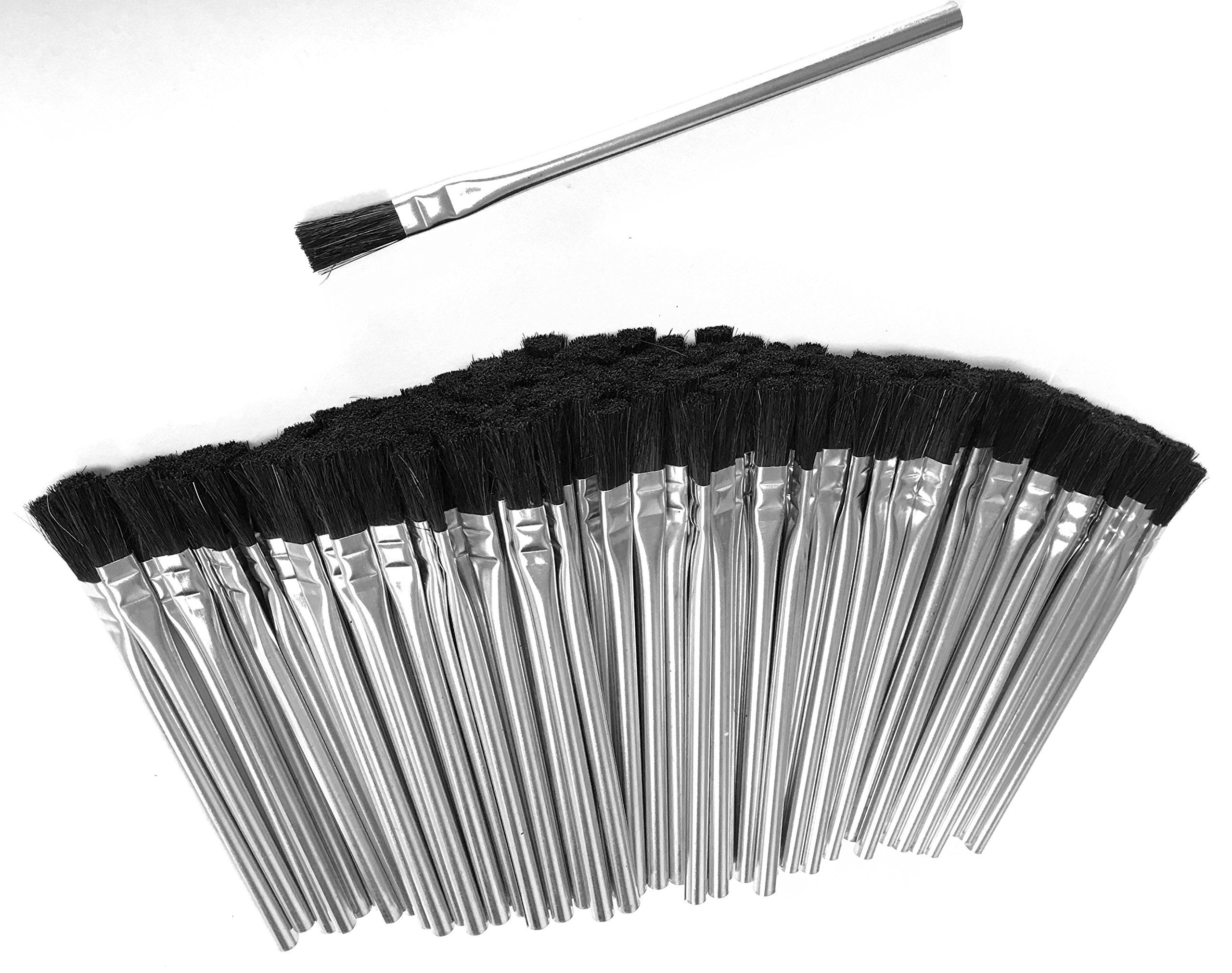 150pc ALAZCO 6'' Long 3/8'' Acid Brushes Natural Flexible Horsehair Bristles - Tin (Metal) Tubular Handles & Ferrules Home School Work Shop Garage by ALAZCO (Image #2)