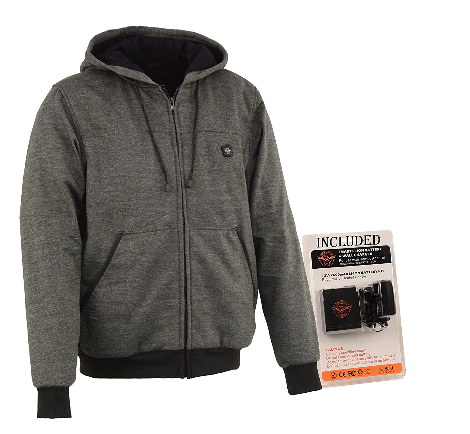 Milwaukee Performance-Men's Heated Hoodie w/Front&Back Heating Elements-BATTERY PACK INCLUDED-GREY-MEDIUM (MPM1713-SET-GREY-MD)