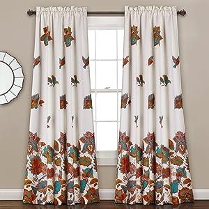 Lush Decor Lush Décor Bird and Flower Room Darkening Window Curtain Panel Pair Set, 84