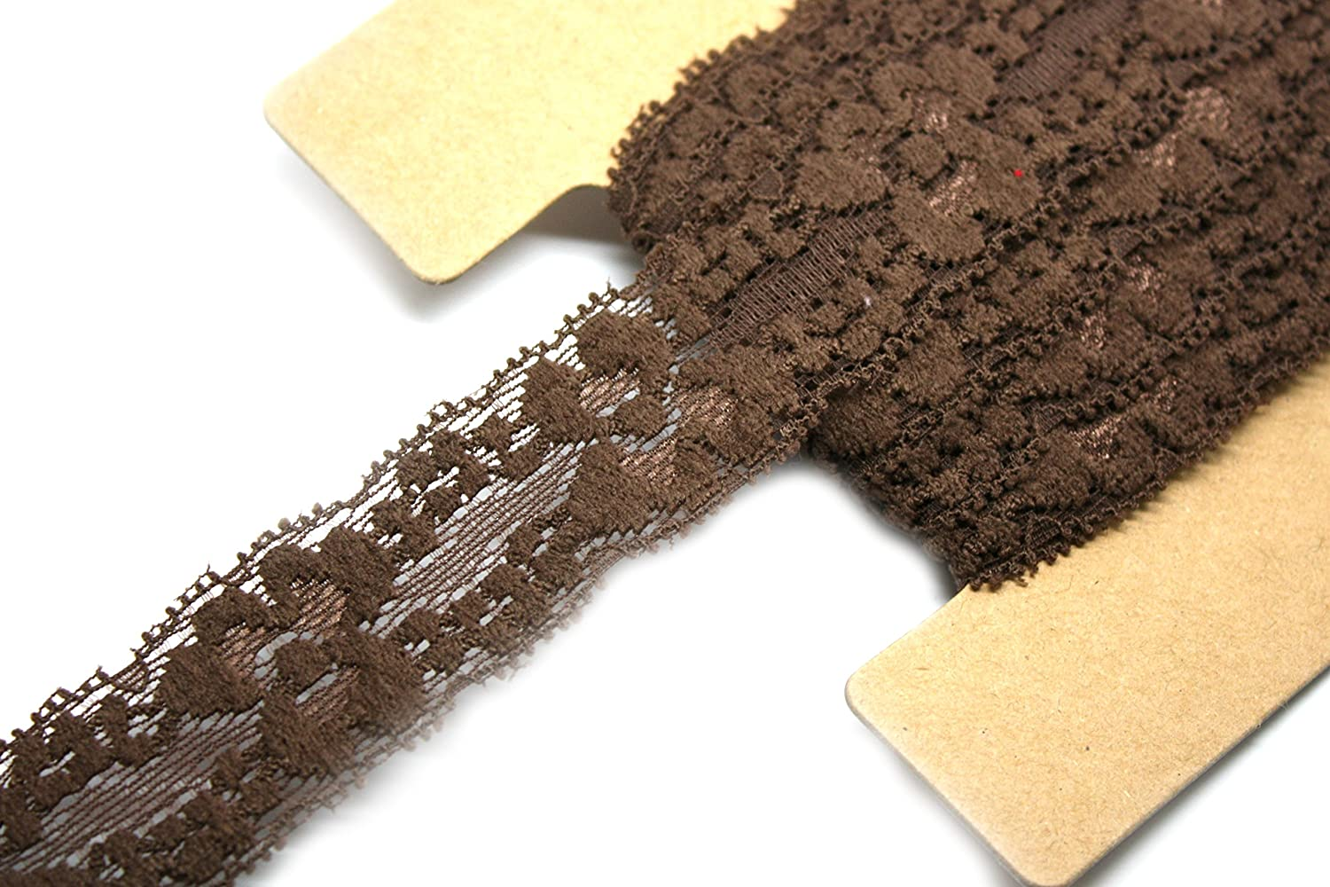 Brown 12 Yards 1 Inch Wide JLIKA Stretch Lace Elastic Fabric Trim Lace for Headbands Weddings