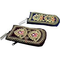 Craft Trade Women's Cotton Embroided Multicolour Mobile Phone Pouch Cover - Set Of 2