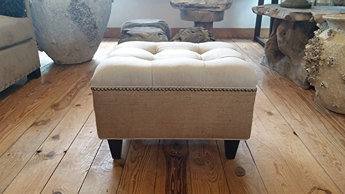 Amazoncom Linen and Burlap Tufted Upholstered Ottoman With Nail