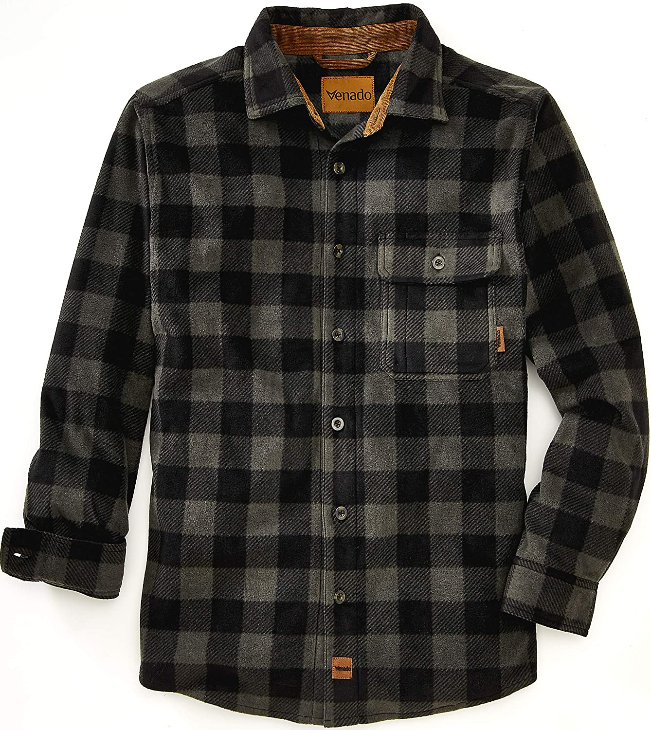 Venado Mens Plaid Shirts for Men - Heavyweight Buffalo Plaid Fleece Shirt at  Men's Clothing store