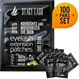 100 Pairs Set Premium Under Eye Gel Pads for Eyelash Extension - Lint Free Patches with Vitamin C and Aloe Vera by Stacy Lash supplies and Beauty tools - Hydrogel Eye Pads - Skin Moisturizes