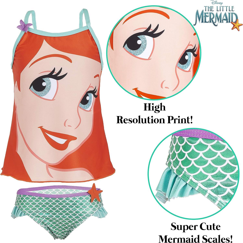 Regalos para Ni/ñas 3-7 A/ños Ropa Ni/ña Princesas Piscina Playa Disney Ba/ñador Ni/ña Sirenita Ariel Bikinis Ni/ña de Dos Piezas con Estampado de Colas de Sirena