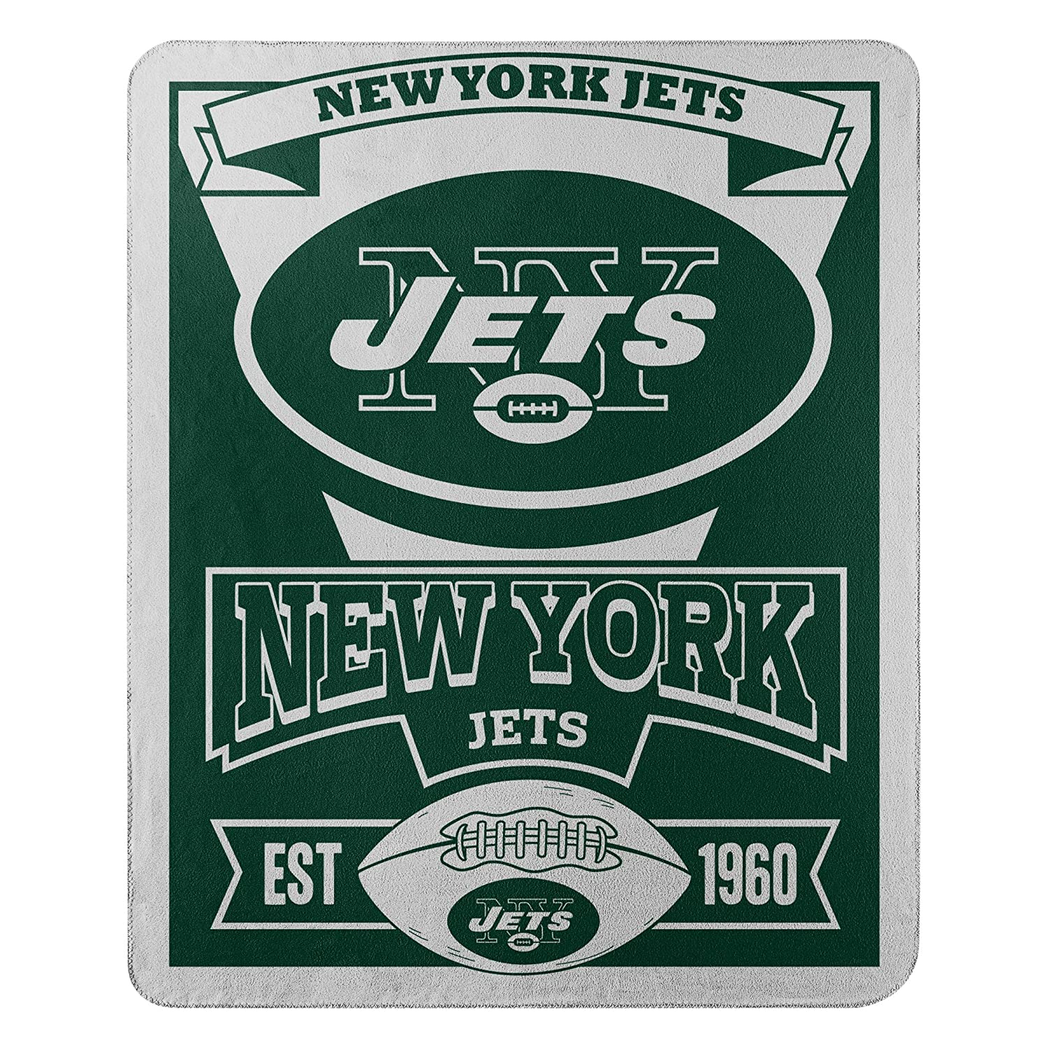 """The Northwest Company Officially Licensed NFL New York Jets Marque Printed Fleece Throw Blanket, 50"""" x 60"""", Multi Color"""