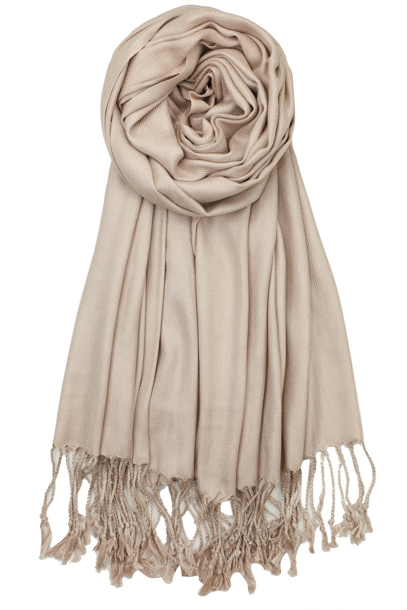 Achillea Large Soft Silky Pashmina Shawl Wrap Scarf in Solid Colors (Light Camel/Tan) by Achillea