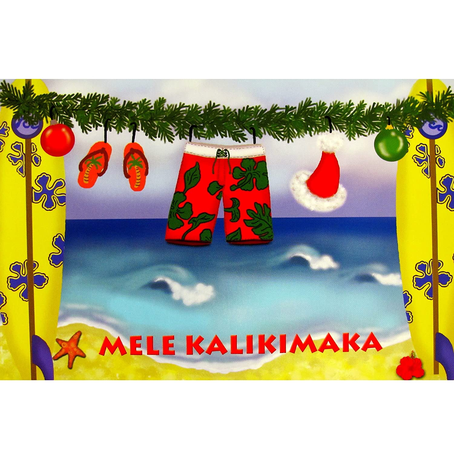 Amazon.com : Hawaiian Christmas Cards Box of 10 Surfboard ...