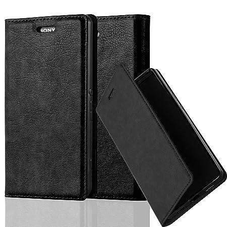 Cadorabo Hülle für Sony Xperia Z3 COMPACT - Hülle in Nacht SCHWARZ – Handyhülle mit Magnetverschluss, Standfunktion und Karte