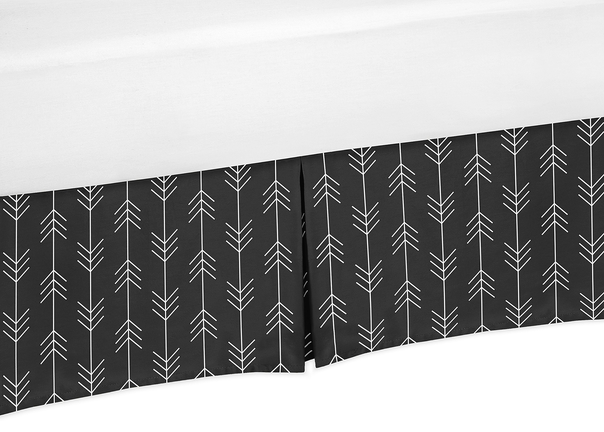 Sweet Jojo Designs Black and White Woodland Arrow Baby Boy Pleated Crib Bed Skirt Dust Ruffle for Rustic Patch Collection by Sweet Jojo Designs