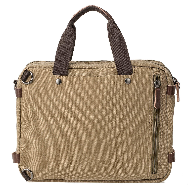 HIKA Vintage 3-Way Convertible Briefcase Laptop Backpack Messenger Bag Backpack-Vintage Khaki by HIKA (Image #3)