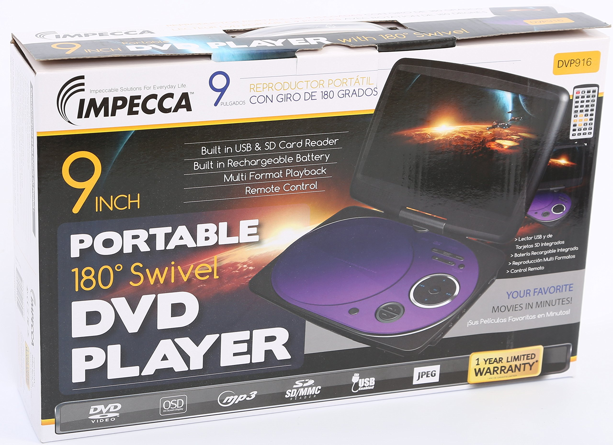 Impecca DVP916PU 9 Inch Swivel Screen, Portable DVD Player with Rechargeable Battery, SD Card Slot and USB Port, Purple