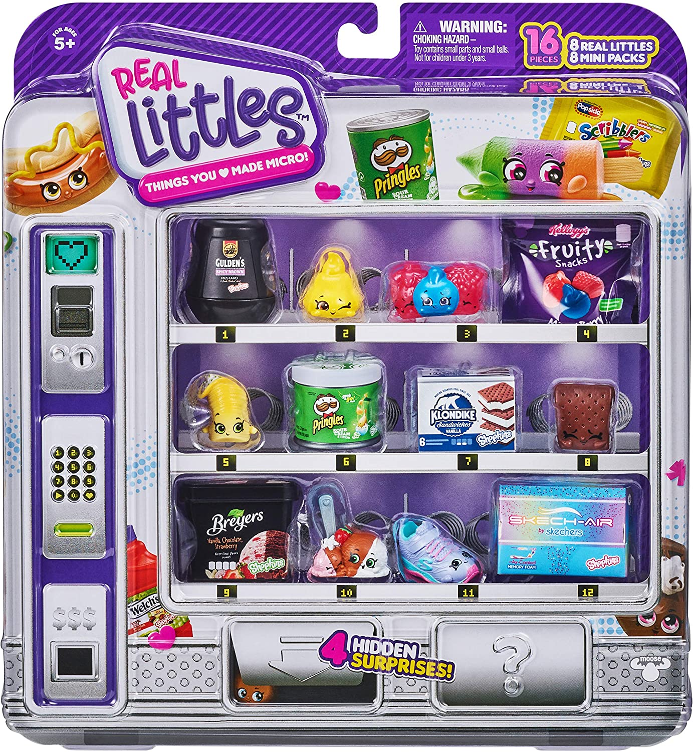 Shopkins Real Littles Shopper Pack | 8 Real Littles Plus 8 Real Branded Mini Packs (16 Total Pieces). Styles May Vary, Multicolor (57787)