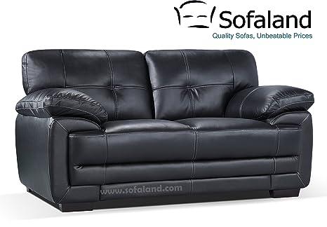 Hayley 2 Seater Leather Sofa Black Amazon Co Uk Kitchen