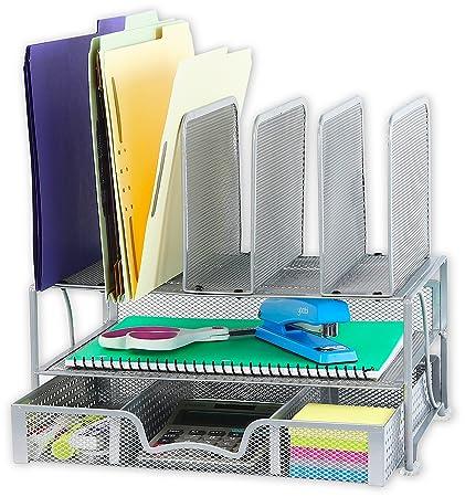 simplehouseware malla organizador de escritorio con cajón deslizante, doble bandeja y 5 Vertical secciones,